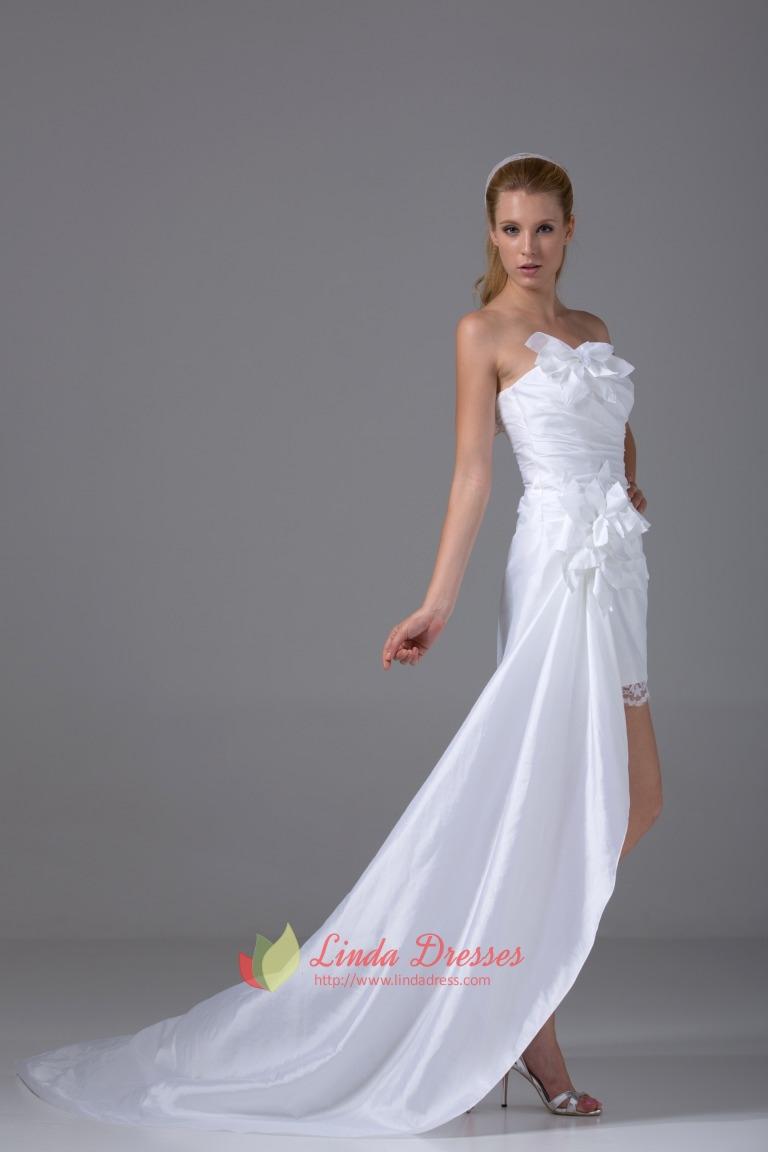 Taffeta white homecoming dress pleated strapless high low for White high low wedding dress