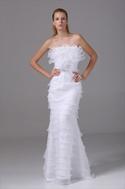 Organza Strapless Wedding Gown White Ruffle Layered Mermaid Prom Dress