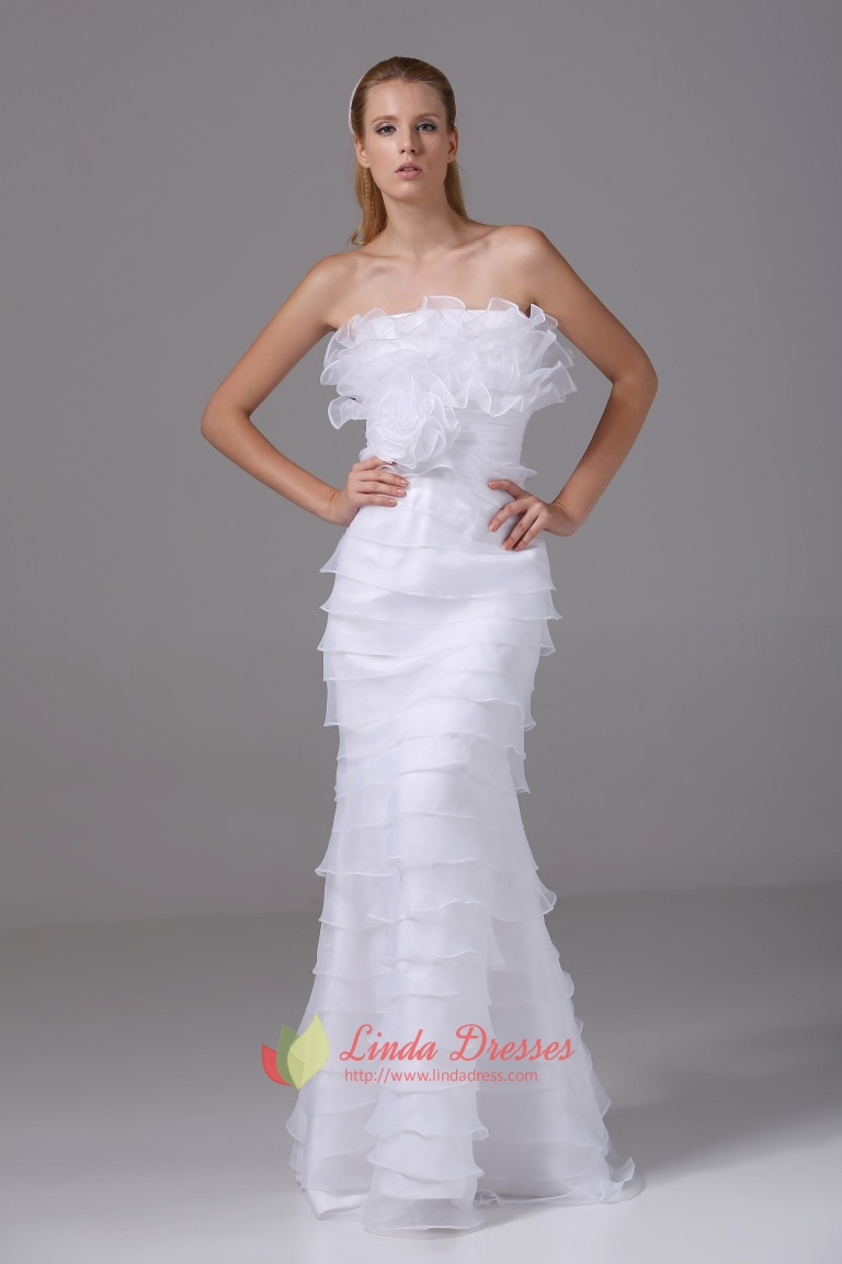 f08a214c56d1 Organza Strapless Wedding Gown White Ruffle Layered Mermaid Prom Dress SKU  -FD133
