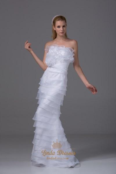 Organza Strapless Wedding Gown White Ruffle Layered Mermaid Prom Dress