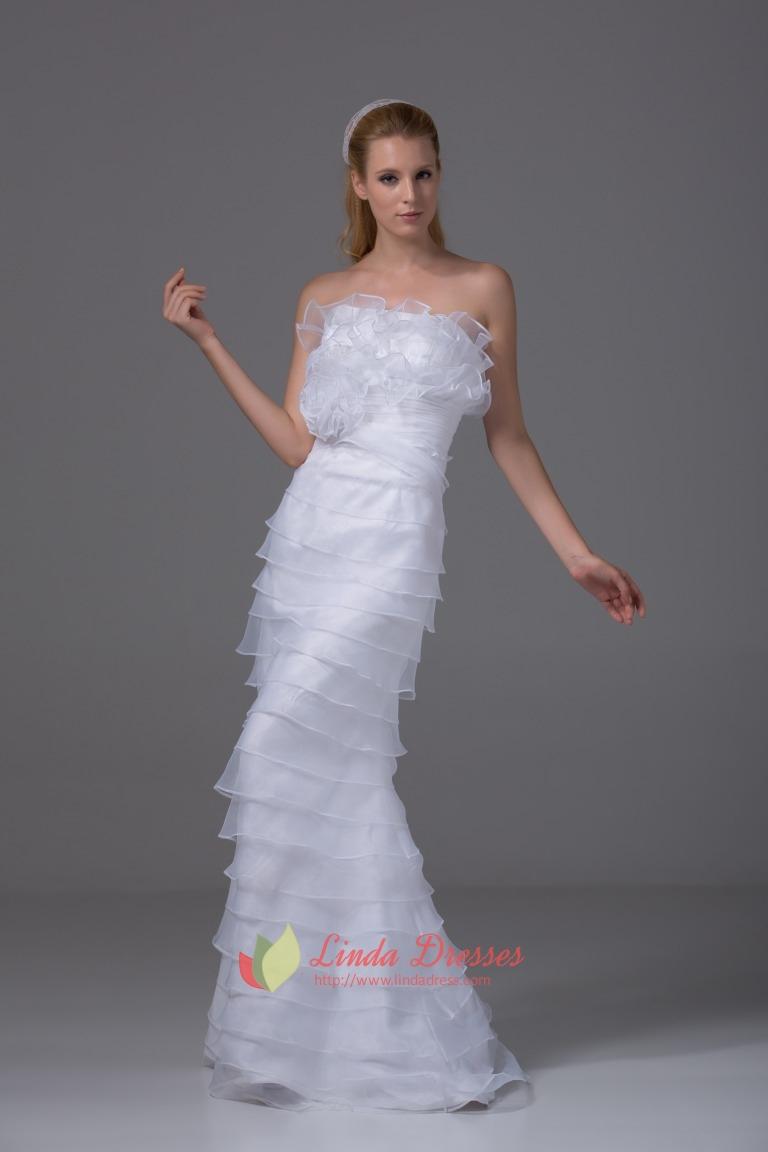Organza strapless wedding gown white ruffle layered for Strapless wedding dress with ruffles