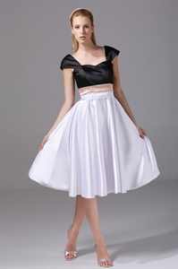 Knee Length Party Dress Black And White Cocktail Dress With Cap Sleeve