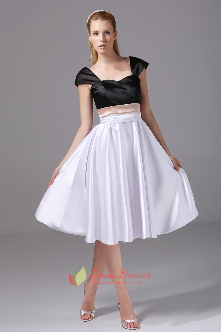Knee Length Party Dress Black And White Cocktail Dress With Cap ...