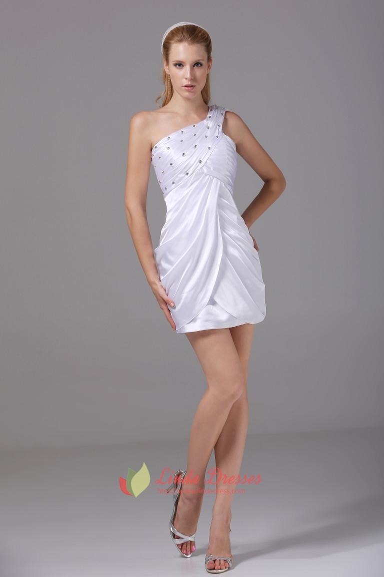 One Shoulder White Homecoming Dresses Empire Waist Short ...