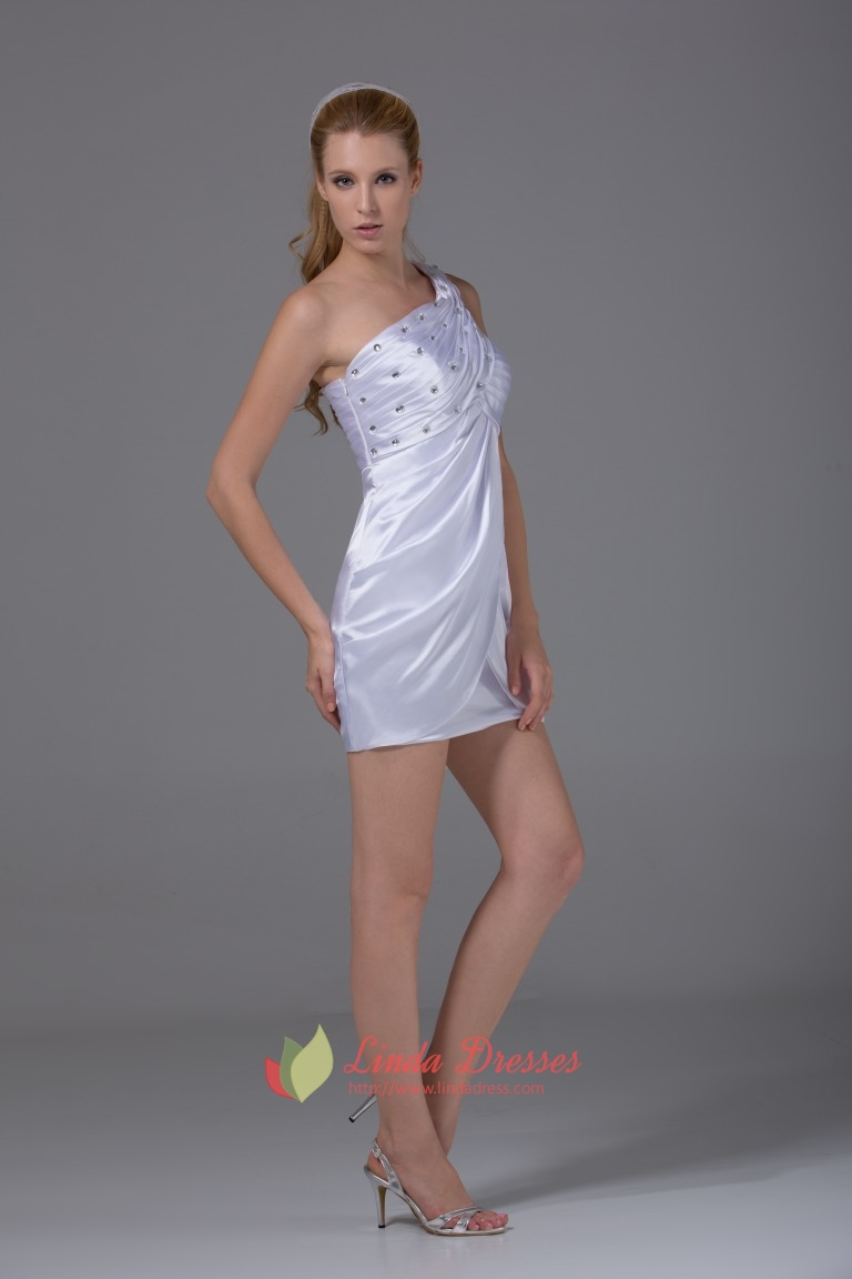 one shoulder white homecoming dresses empire waist short
