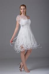 Empire Waist Homecoming Dress A-Line Ivory Organza Short Wedding Dress