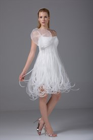 Empire Waist Homecoming Dress A-Line Ivory Organza Short Wedding Dress