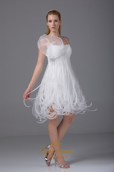 Show details for Empire Waist Homecoming Dress A-Line Ivory Organza Short Wedding Dress