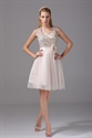 Show details for Champagne Sequin Homecoming Dress Soft Net Knee Length Cocktail Dress
