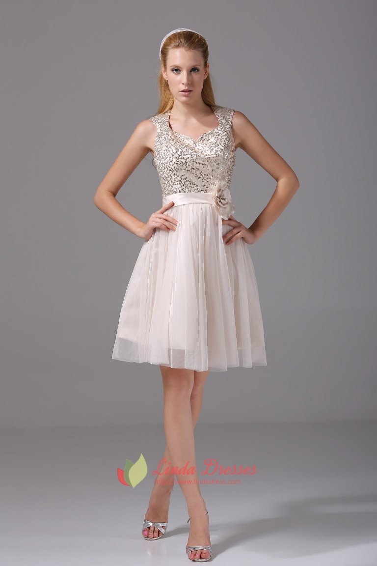 Champagne Sequin Homecoming Dress Soft Net Knee Length ...