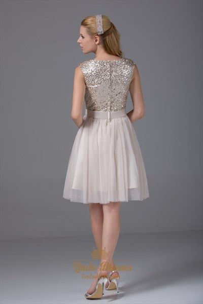 Champagne Sequin Homecoming Dress Soft Net Knee Length Cocktail Dress