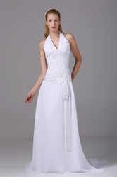 Halter V Neck Prom Gown A-Line Long Beaded White Chiffon Wedding Dress
