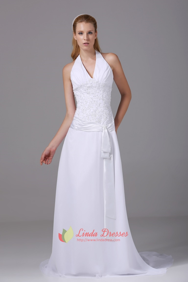 Halter V Neck Prom Gown A-Line Long Beaded White Chiffon Wedding ...