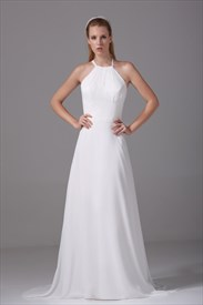 Floor Length Ivory Formal Gowns Chiffon A-Line Empire Waist Prom Dress