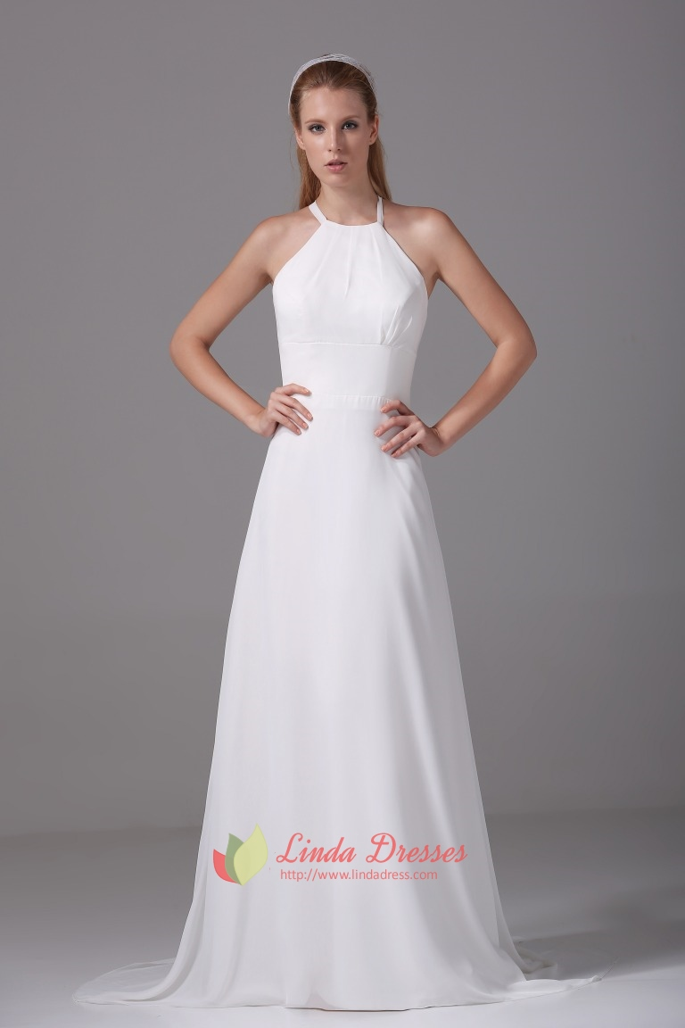 Floor Length Ivory Formal Gowns Chiffon A-Line Empire Waist Prom ...