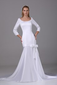 Floor Length Mermaid Scoop Neck White Satin Prom Gown With Long Sleeve