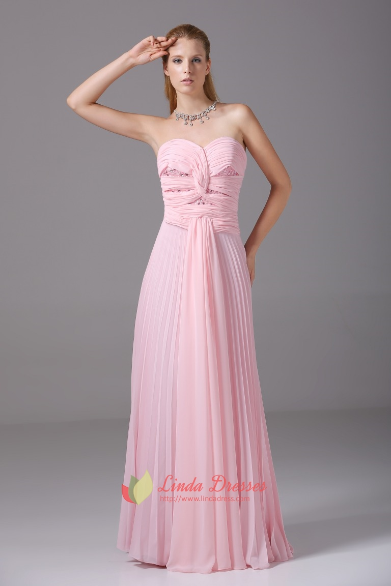 Twist Wrap Dress Long Pink Crinkle Chiffon Sweetheart