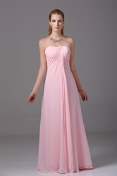 Strapless Empire Waist Gown Floor Length Pink Chiffon Bridesmaid Dress
