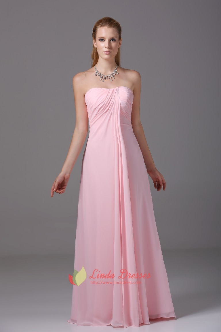 Strapless Empire Waist Gown Floor Length Pink Chiffon Bridesmaid ...