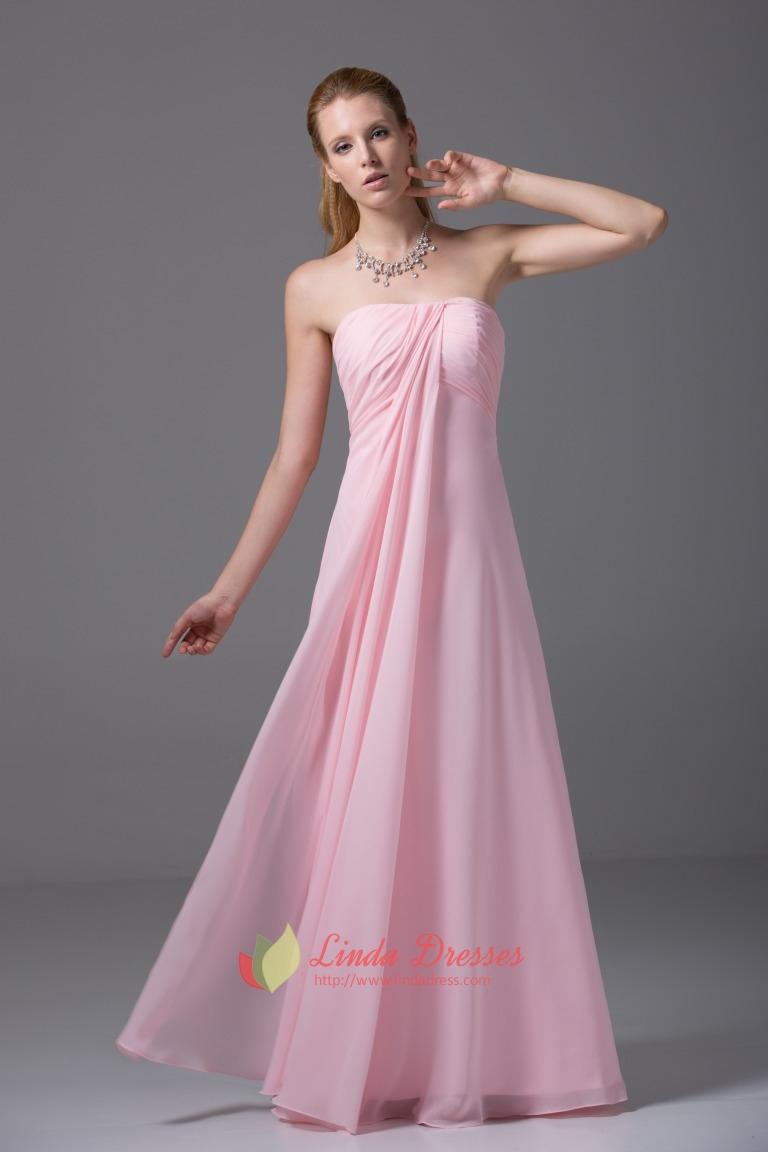 Strapless Empire Waist Gown Floor Length Pink Chiffon Bridesmaid ...
