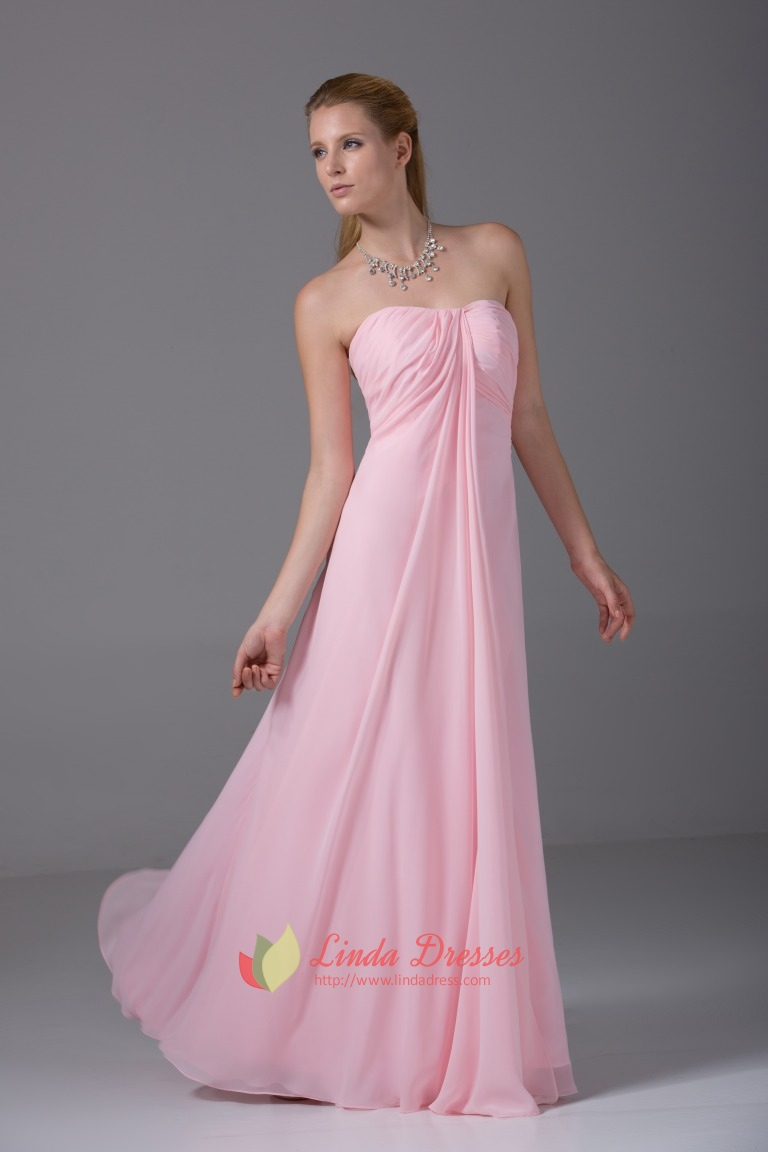 Strapless empire waist gown floor length pink chiffon bridesmaid strapless empire waist gown floor length pink chiffon bridesmaid dress ombrellifo Images