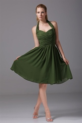Hunter Green Bridesmaid Dresses A-Line Halter Chiffon Cocktail Dresses