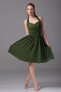 Hunter Green Bridesmaid Dresses A-Line Halter Chiffon Cocktail Dresses