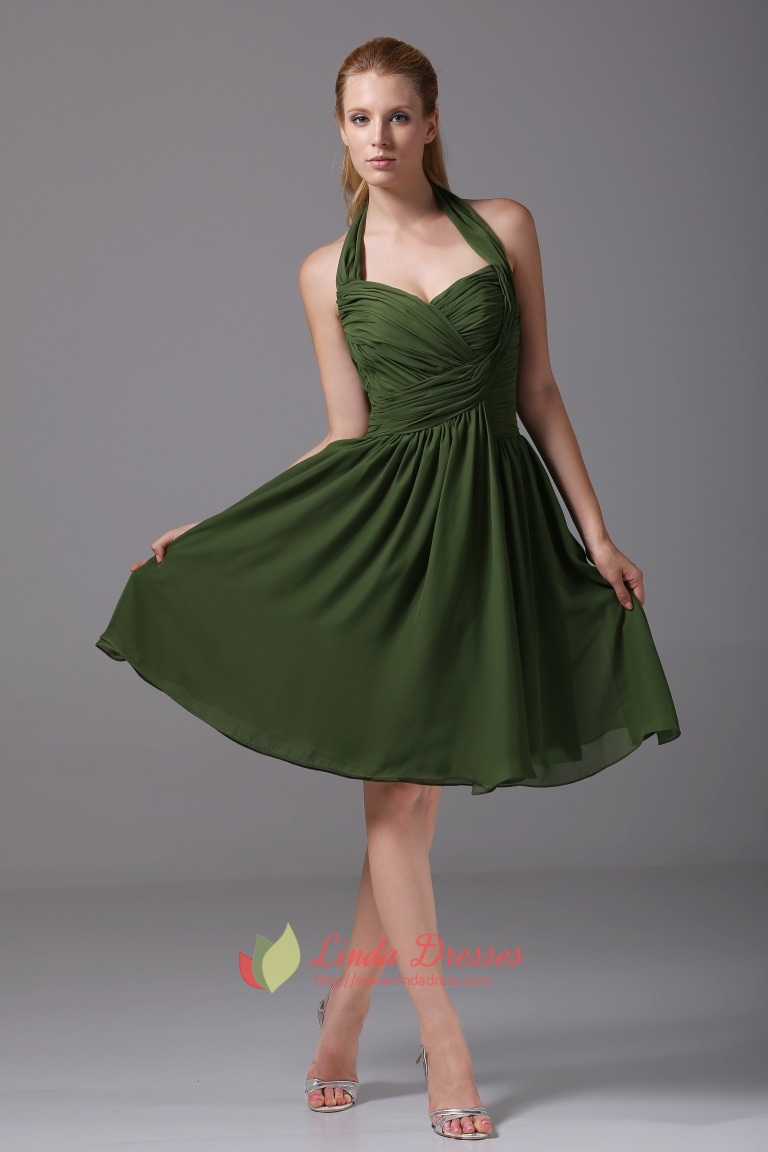 Hunter Green Bridesmaid Dresses A-Line Halter Chiffon Cocktail ...