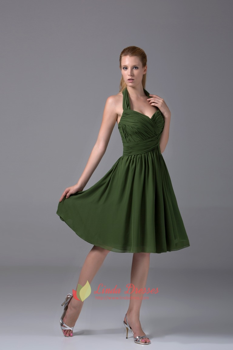 Hunter Green Bridesmaid Dresses A Line Halter Chiffon