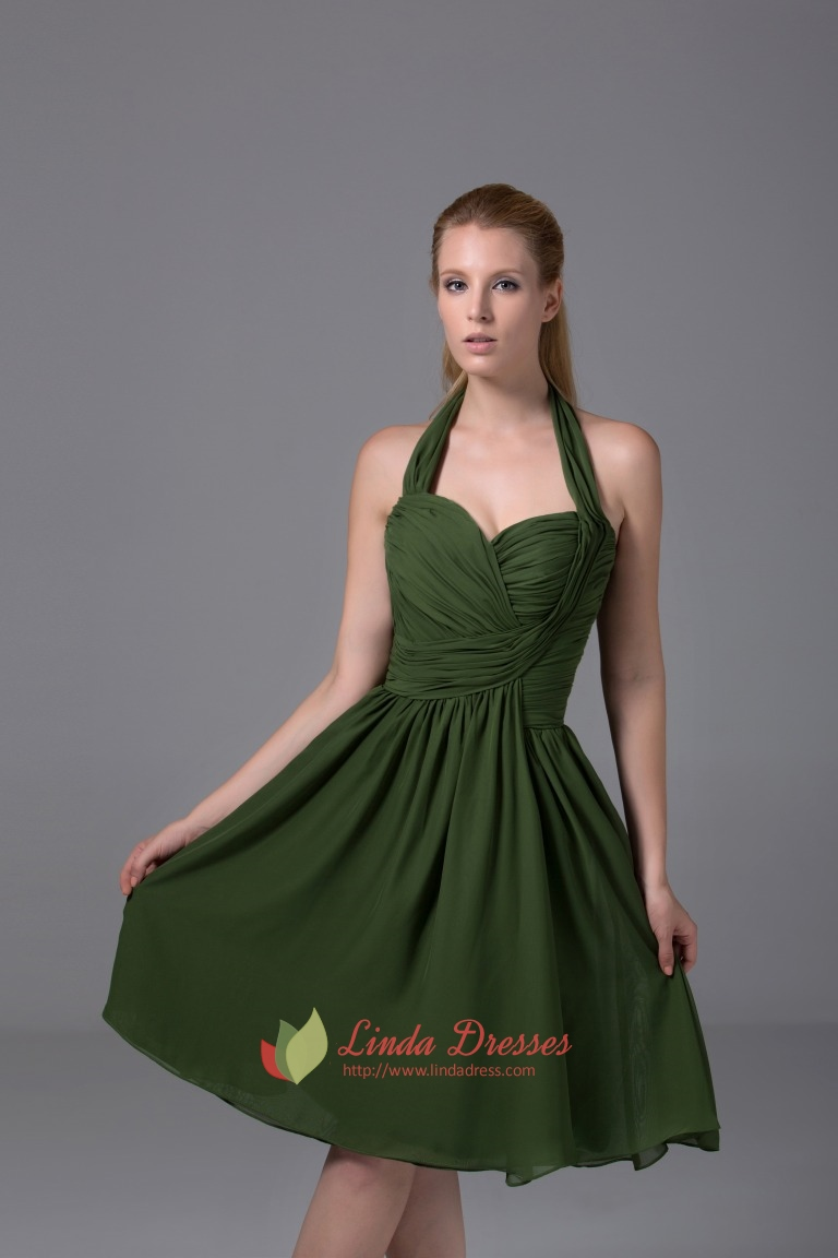 Hunter green bridesmaid dresses a line halter chiffon for Aline halter wedding dresses
