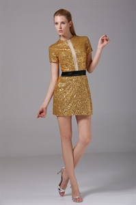 Gold Sequin Short Prom Dress, Short Gold Party Dress, Gold Formal Gown