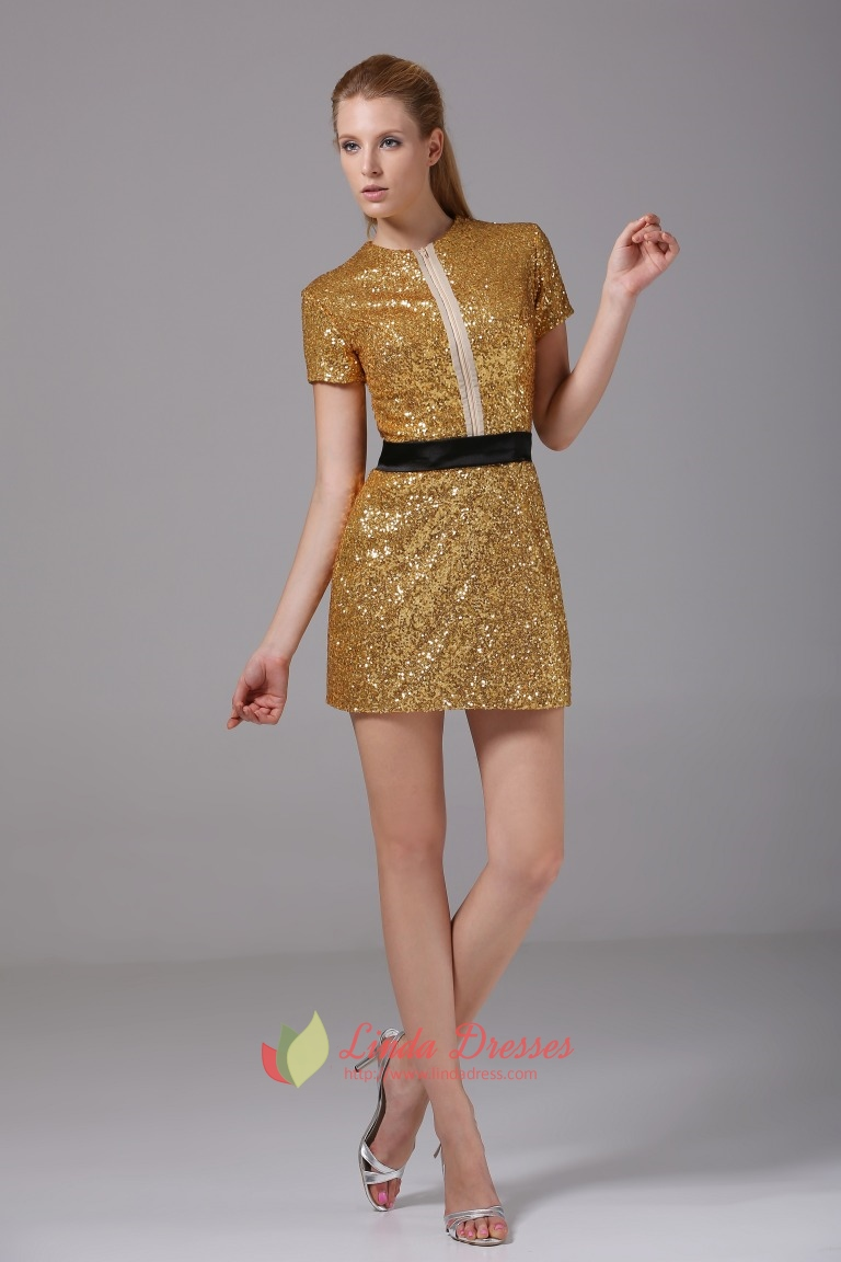 Gold Sequin Short Prom Dress, Short Gold Party Dress, Gold Formal ...