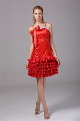 Spaghetti Red Cocktail Dress Beaded Tiered Homecoming Dresses With Bow