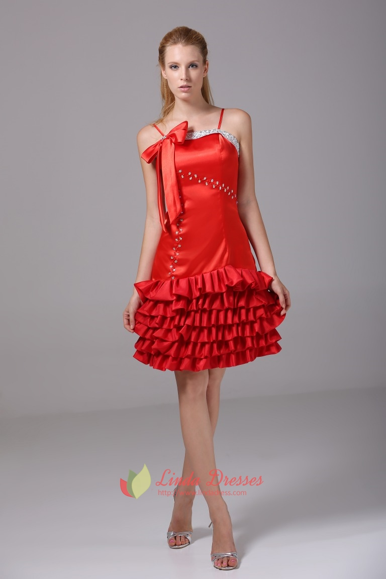 Spaghetti Red Cocktail Dress Beaded Tiered Homecoming