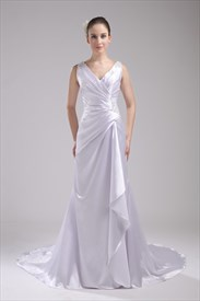Pleated V Neck Prom Dress Floor Length White Wedding Dress With Train