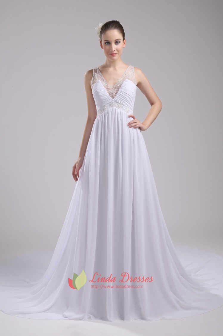 Chiffon white wedding dress v neck beaded empire waist for Wedding and evening dresses