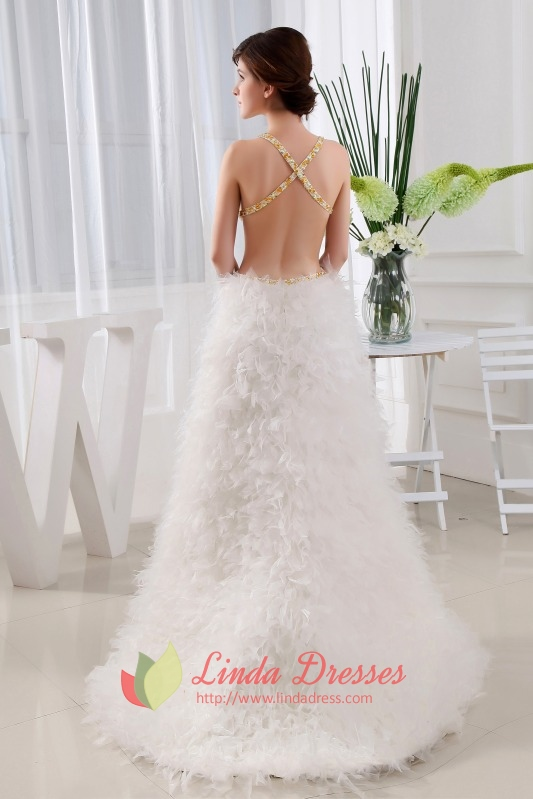 White Side Cut Out Prom Dress, Floor Length Dresses With Open Back ...