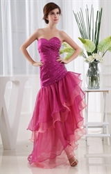 Hot Pink Short Strapless Prom Dress, Strapless Layered High Low Dress