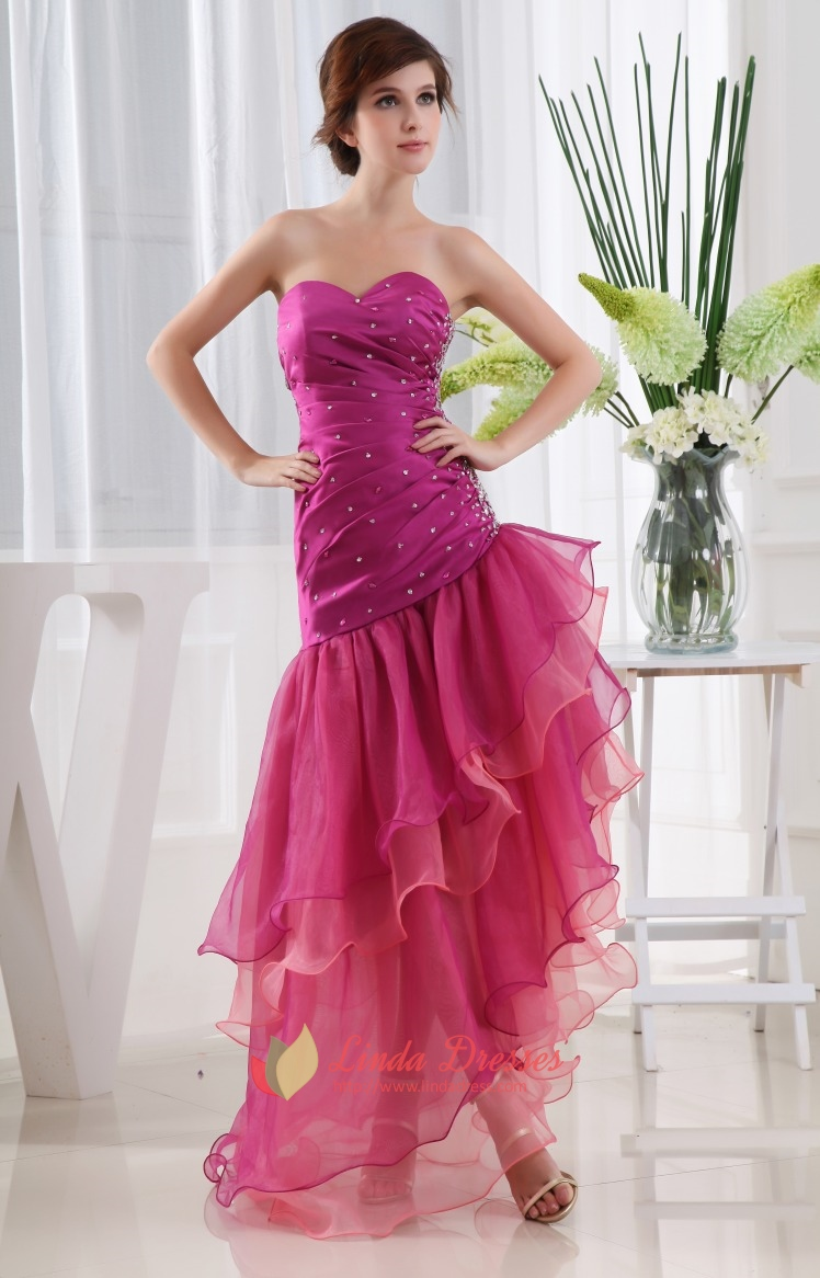 hot pink short strapless prom dress strapless layered