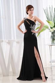 Elegant Black Chiffon Evening Gown, Chiffon Maxi Dress With Split