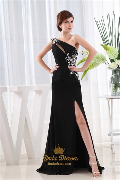 Show details for Elegant Black Chiffon Evening Gown, Chiffon Maxi Dress With Split