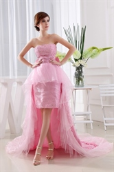 Strapless Dress Short Front Long Back, Pink Strapless High Low Dress