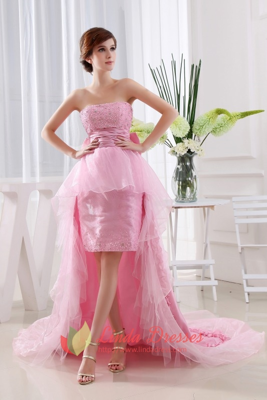 Strapless Dress Short Front Long Back, Pink Strapless High Low Dress ...