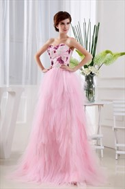 Pink Princess Sweetheart Floor-Length Dress, Layered Ruffle Prom Dress