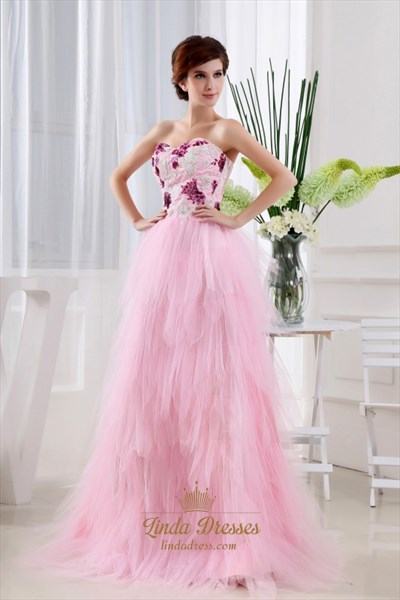 Show details for Pink Princess Sweetheart Floor-Length Dress, Layered Ruffle Prom Dress