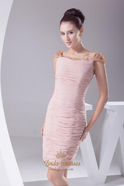 Jewel Embellished Chiffon Flow Dress, Chiffon Dress With Cap Sleeve
