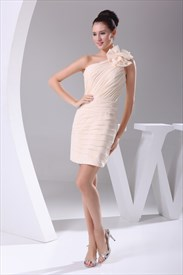 Short One Shoulder Chiffon Dress, Champagne Pleated One Shoulder Gown