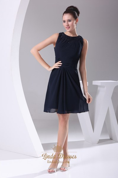 Show details for Navy Blue Chiffon Cocktail Dress, Chiffon Dress With Beaded Neckline