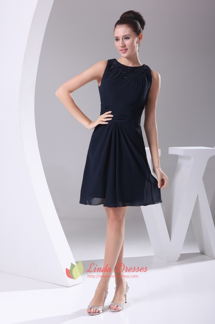 Navy Blue Chiffon Cocktail Dress, Chiffon Dress With Beaded Neckline ...