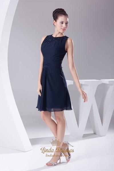 Navy Blue Chiffon Cocktail Dress, Chiffon Dress With Beaded Neckline